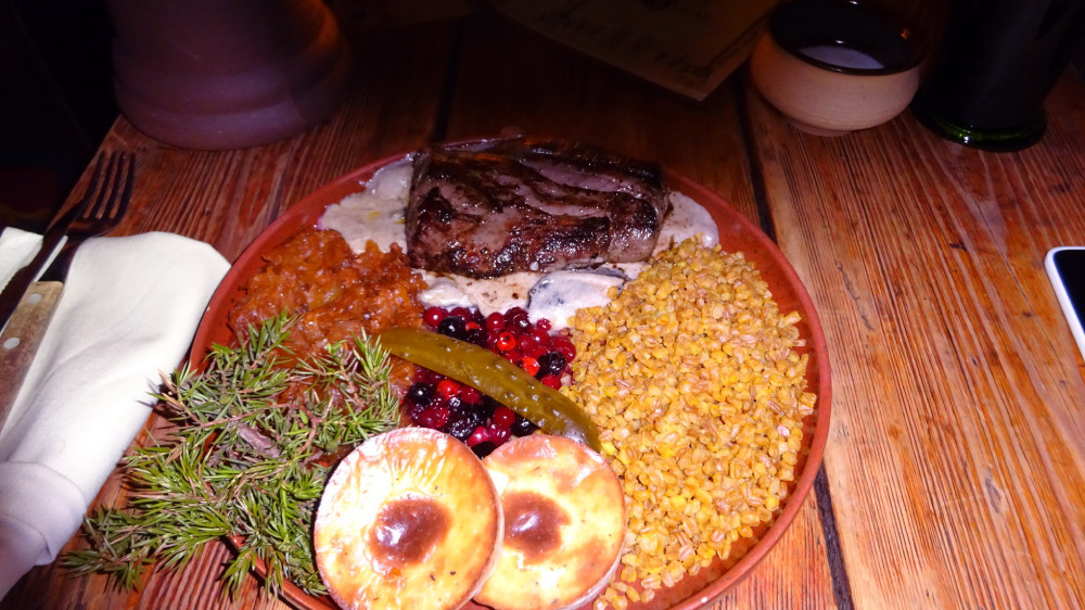 Medieval dish with elk meat , berries & grain (Estonia)